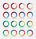 Segmented and multicolored pie charts set. Royalty Free Stock Photos