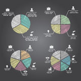 Segmented and multicolored pie charts set. From three to six divisions. Hand drawn style. Vector illustration Royalty Free Stock Photos