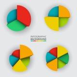 Segmented and multicolored pie charts Stock Image
