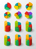 Segmented and multicolored pie charts set. Royalty Free Stock Images