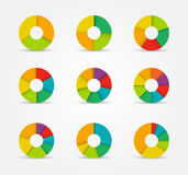 Segmented pie charts set from 3 to 8 divisions. Royalty Free Stock Photography