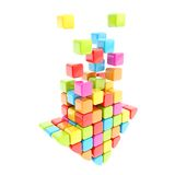 Segmented rainbow colored cube glossy colorful arrow Royalty Free Stock Images