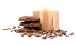 Segmenten van donkere chocolade Stock Foto's