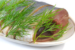 Segmenten zoute haringen met venkel. Stock Fotografie