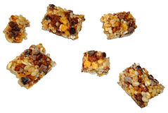 Segmenti della barra del cereale isolati su bianco Fotografia Stock Libera da Diritti