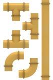 Segmenti gialli del tubo Fotografia Stock