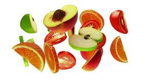 Segmentos de la fruta en el fondo blanco, ejemplo 3d Foto de archivo libre de regalías