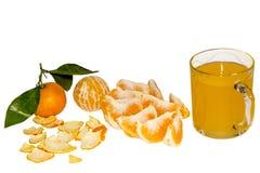 Segmentos de uma laranja e de um vidro do suco Fotos de Stock Royalty Free