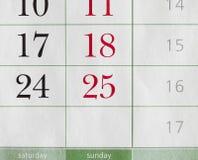 Segmentos de un calendario Imagen de archivo libre de regalías