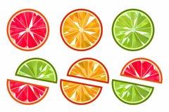 Segmentos originais, brilhantes das laranjas Fotografia de Stock Royalty Free