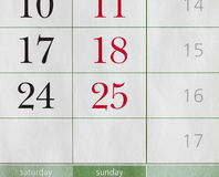 Segments of a calendar. Segment or partial view of a calendar royalty free stock image