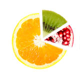 Segments from different fruits Stock Images