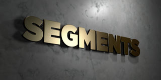 Segments - Gold sign mounted on glossy marble wall  - 3D rendered royalty free stock illustration Royalty Free Stock Photography