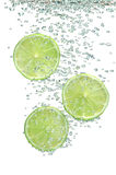 Segments of lime in water Stock Images