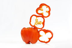 Segments of pepper. Red segments of sweet pepper for salad stock image
