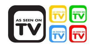 Según lo visto en la TV, venta. Publicidad del conjunto del icono Imagenes de archivo