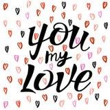 Segna la calligrafia con lettere, sul modello del cuore di amore Fotografia Stock
