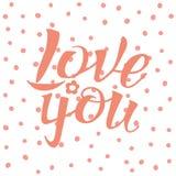 Segna la calligrafia con lettere, vi amano, disegno della mano Fotografia Stock Libera da Diritti