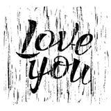 Segna la calligrafia con lettere, vi amano, disegno della mano Fotografia Stock
