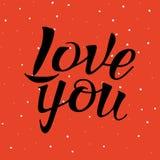 Segna la calligrafia con lettere, vi amano, disegno della mano Fotografie Stock