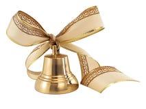 Segnalatore acustico dorato con un arco del nastro Immagini Stock Libere da Diritti