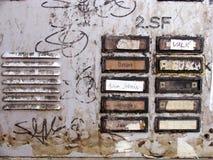 Segnalatori acustici sporchi ad un'entrata della casa Fotografie Stock
