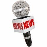 Segnalazione della televisione della radio TV di intervista del contenitore di microfono di notizie Fotografie Stock Libere da Diritti