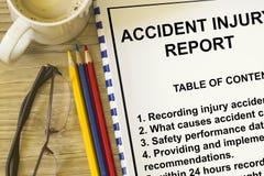 Segnalazione di lesione di incidente Fotografia Stock Libera da Diritti