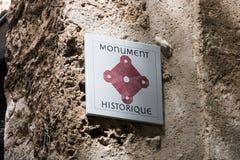 Segnale del monumento in Porvence, Francia fotografie stock libere da diritti