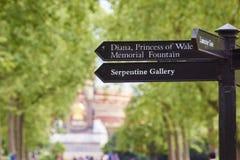 Segnale di direzione dei giardini di Kensington Fotografie Stock