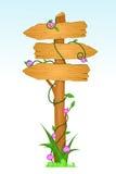 Segnale di direzione di legno Fotografia Stock