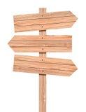 Segnale di direzione di legno in bianco isolato su bianco Fotografia Stock