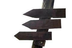 Segnale di direzione di legno con gli spazi per testo Fotografia Stock