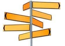 Segnale di direzione giallo in bianco Immagini Stock