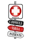 Segnale di direzioni di infezioni dell'ospedale Fotografie Stock