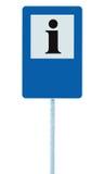 Segnale di informazione in blu, icona della lettera del nero i, struttura bianca, fondo vuoto in bianco dello spazio della copia, Immagini Stock Libere da Diritti