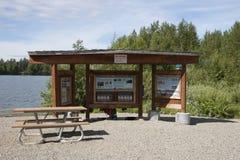 Segnale di informazione di legno del lago Immagini Stock Libere da Diritti