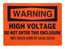 Segnale di pericolo arancione ad alta tensione Fotografia Stock Libera da Diritti