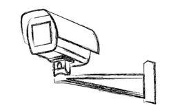 Segnale di pericolo in bianco e nero della videosorveglianza (CCTV) Vettore Fotografia Stock Libera da Diritti