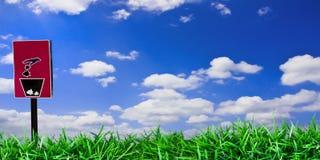 Segnale di pericolo con cielo blu Fotografie Stock Libere da Diritti