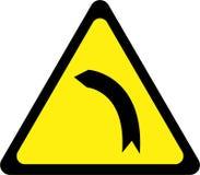 Segnale di pericolo con la curvatura sinistra illustrazione di stock