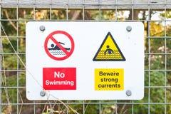 Segnale di pericolo del fiume Immagini Stock