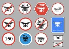 Segnale di pericolo del fuco Insieme di vettore di avvertimento differente Immagini Stock Libere da Diritti