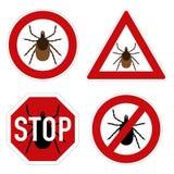 Segnale di pericolo del parassita del segno di spunta Fotografia Stock