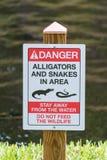 Segnale di pericolo del serpente e dell'alligatore Fotografia Stock Libera da Diritti