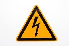 Segnale di pericolo del triangolo giallo ad alta tensione Fotografia Stock Libera da Diritti