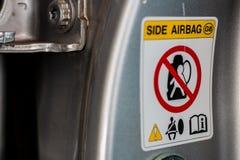 Segnale di pericolo dell'airbag Fotografie Stock