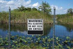 Segnale di pericolo dell'alligatore Fotografia Stock Libera da Diritti