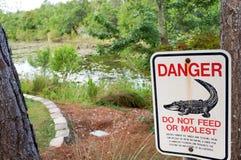 Segnale di pericolo dell'alligatore di Florida Fotografia Stock