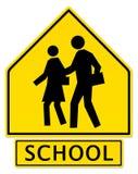 Segnale di pericolo dell'incrocio di scuola Fotografia Stock